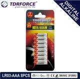 Pile alcaline libre de Digitals de fournisseur de Mercury&Cadmium Chine (LR03-AAA 8PCS)
