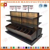 Soporte de visualización de madera modificado para requisitos particulares del departamento del supermercado del estante del metal (ZHS197)