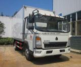 Le camion frigorifié par 4X2 de HOWO 5 tonnes de nourriture régénèrent le camion