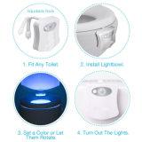 Wc noche activa del movimiento de la luz 8 LED que cambia de color del sensor de movimiento de la luz de asiento del inodoro Inodoro luz