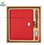 Bussiness en cuir doux de bonne qualité fait sur commande sauvant le cadeau exclusif de cahier a placé avec l'USB