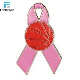 ピンクのリボンの乳癌意識の折りえりPin