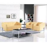صفراء لون جلد مكسب أريكة مع معدن قدم