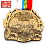 Do esporte de cobre de bronze velho antigo feito sob encomenda da concessão da fábrica de China medalha Running da estação de acabamento da raça com colhedores largos da fita