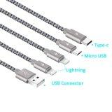 4 в 1 Braided множественном разъеме переходники Alluminum зарядного кабеля с типом c, 8 Pin светлое Ing, микро- USB для всеобщей пользы