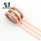 cinta delgada clasificada geométrica flaca de Washi del color de rosa de la hoja de oro del modelo de 5m m