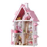 Casa de muñeca de madera hecha a mano con la educación para los niños