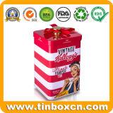 Il quadrato su ordinazione richiede il contenitore assistenza di stagno per il barattolo di latta del regalo del metallo