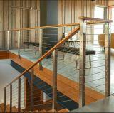 De vloer zet de Omheining van Decking van het Traliewerk van de Kabel van de Balustrade van de Draad van het Roestvrij staal op