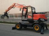 Mini Excavadora de ruedas con agarre para la captura de Venta caliente