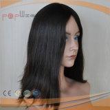 Parrucca ebrea del nero superiore di seta dei capelli umani (PPG-l-0902)