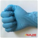 Guanti blu medici a gettare del nitrile di colore