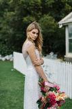 Крышка Sleeves платья венчания отбортовала богемские Bridal мантии Ld1515