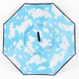 Зонтик двойного слоя Handfree перевернутый обратным с зонтиком ручки формы c выдвиженческим