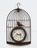 Reloj de pared antiguo del Birdcage del metal de Brown para la decoración casera