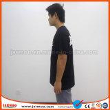 Maglietta rotonda bianca del cotone del collo con stampa di seta