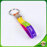 Form-Schlüsselring-Zoll gedrucktes Silikon Keychain mit Licht