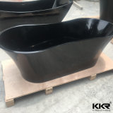 Black Color Stone Freestanding Solid Surfaces Bath Tub 0705
