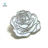 Pin branco preto do Lapel da flor de Rosa do esmalte de Kunshan Pinstar