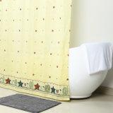 Luz amarilla Tejido de poliéster Anti-Mildew cortina de baño con ducha