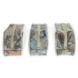 Bolso cosmético de las señoras de bolso de la cremallera del totalizador del bolso de la PU del PVC del organizador de encargo barato del maquillaje