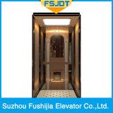 Ascenseur commercial de passager de construction avec la décoration d'acier inoxydable d'or de Rose