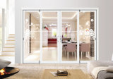 Casa de lujo la combinación de grano de madera puerta con doble vidrio