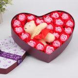 Embalaje de caja de estaño en forma de corazón 3pcs flores de jabón de rosa con 1 tener para la boda