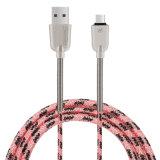 Cavo del USB della molla in lega di zinco di C3700 2.1A 1.5m micro (il NERO)