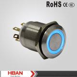19mmのアルミニウム防水LEDによって照らされる瞬時の押しボタンスイッチ