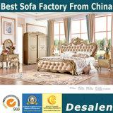 Hauptmöbel-europäisches Art-Bett mit echtem Leder (3083)