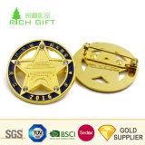 中国の製造者のカスタム金属の銅の磁気背部が付いている金によってめっきされる星形の折りえりピン