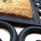 Il benvenuto amichevole di Eco del cassetto di gomma del blocco per grafici arrivederci ha impresso la decorazione domestica incisa modellata fuori dei Doormats della fibra di noce di cocco della fibra di cocco dei Cochi