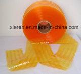 De gele Geribbelde Plastic Gordijnen van de Strook