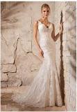 Vestidos de casamento nupciais 2708 da sereia frisada do laço