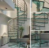 カシ木踏面が付いている現代デザインステンレス鋼の螺旋階段