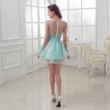 Frauen auf lager Sleeveless Tulle, das Perlen-Cocktail-Abschlussball-Kleid bördelt