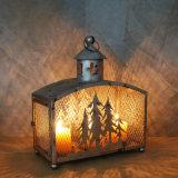Linterna blanca de la vela del hierro LED de la decoración casera