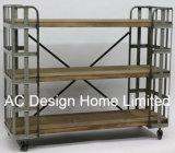 3 mensole pieganti di legno dell'annata della fila/del metallo decorative antiche metallo