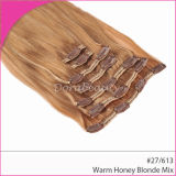 #27/613 Mixed Colored Remy Hair Extenisons Clips in Hair Weft