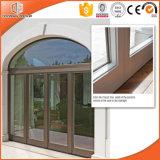 Madera sólida lujosa Windows de desplazamiento y puertas, puerta con bisagras de aluminio de la doble vidriera de madera sólida de Clading