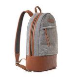卸売価格の格子ファブリック革学校のラップトップのバックパック袋