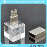 Movimentação de cristal do flash do USB da forma cúbica com logotipo 3D (ZYF1530)