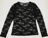 Frauen-Form kleidet reizvolle Spitze-lange Hülse gestricktes T-Shirt