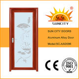 寝室のドアデザインアルミニウム曇らされたガラスのドア