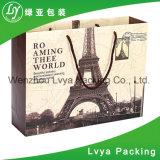 Sacco di carta della maniglia piana promozionale su ordinazione delle materie prime con la stampa di marchio