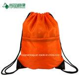 Kundenspezifischer preiswerter Reißverschluss-Vorderseite-Taschen-Polyesterdrawstring-Rucksack-Großhandelsbeutel