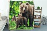 напечатанное 3D одеяло Berber и фланели (медведь, волк, лисица, звезда)