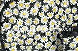 Sacchetto cosmetico della nuova di stile della margherita del fiore del nero tela di canapa della priorità bassa (BDY-1709038)