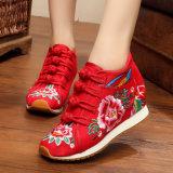 Dame-Schuh-beiläufige Form bereift Stickerei-Schuhe